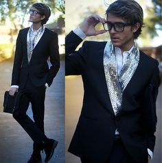 Adam Gallagher rocks this MMM for H lapel-less blazer that comes with a detachable sequin scarf!