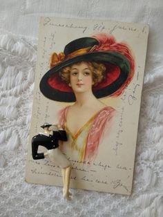 Art Deco woman/lady shape plastic brooch, litho postcard with lady in hat 1917 Little Cup, Little Birds, Retro Girls, Postcard Art, Etsy Shipping, Vintage Postcards, Folk Art, Art Deco, Brooch