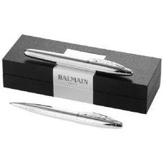 Pennenset zilver - 19982130  Pennenset. Exclusieve modern design balpen en rollerballpen geschenkset gepresenteerd in een Balmain kunstlederen...