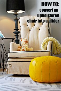 Convert Your Upholstered Chair Into A Glider — Honey and Fitz.check the comments for the link to swivel/glider parts since tutorial is swivel/rocker