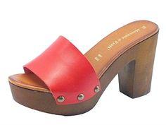 Zoccoli per donna Mercante di Fiori in pelle rossa con tacco alto (Taglia 35)