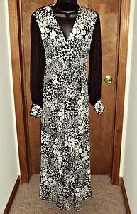 Vtg Black White Maxi Dress Small Sheer Sleeve Plunging V Hippie Empire Tie Back