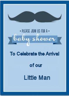 Vintage baby boy mustache theme baby shower invitation ideas