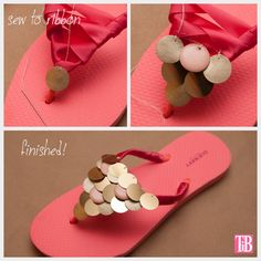 Make your own sparkly sandals by following this Flip Flop #DIY that uses ribbon, thread, and paillettes.