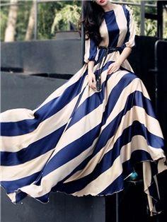 Ericdress Stripe Color Block Lace-up Maxi Dress