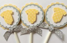 Yellow and Gray Cupcake Toppers Baby Shower by TerrysCards on Etsy