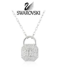Retail: $125 Swarovski Crystal SILVER Rhodium Plated LOCK Necklace SURELY…