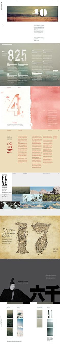 The layout of this design is very scattered. There is no consistent flow from page to page. There are constant colors and textures, however i find the overall collection of pages to be too busy and hard to follow.