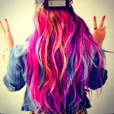 OMG! Did Demi Dye Her Hair Rainbow? ❤ liked on Polyvore featuring hair, hairstyles, hair styles, people and icons