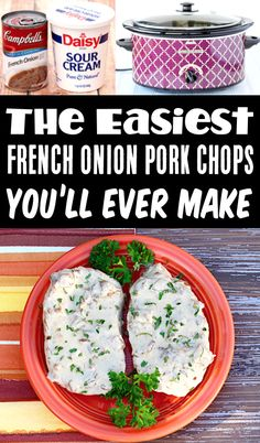 French Onion Soup Pork Chops Crock Pot Easy Dinner! With just 4 Ingredients, this Easy Crockpot Recipe delivers big time comfort food style flavors with just an itty bitty bit of effort! My family went crazy for it, and I bet yours will, too! Go grab the recipe and give it a try this week!