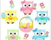 easter clip art - digital graphic clipart, Easter day Digital clip art - Easter Owls, egg baskets,