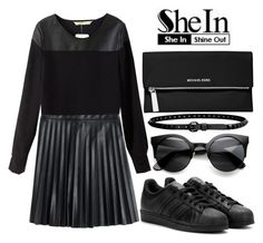"""""""SheIn Black Blouse"""" by anniebananie-2 ❤ liked on Polyvore featuring J.Crew, adidas, Linea Pelle and MICHAEL Michael Kors"""