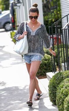 Boho Chic: Lea Michele's Peasant Blouse and Slide Sandals Look for Less