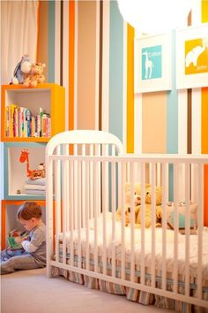 Colton's Stripes and Animal Room via Apartment Therapy