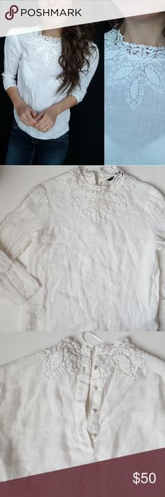 ZARA white lace collar linen top XS -D9 Beautiful lace high neck collar linen top from Zara. This is a stunning short that is perfect for any spring or summer event! Loose fit size XS. Used item: inspected for quality and wear. Pictures show any signs of wear and use. Bundle up! Offers always welcome:)  Shop my husband's closet!: @kirchingeraaron Zara Tops