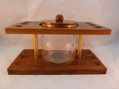 Vintage Wood Tobacco Pipe Stand with Glass Humidor Wooden Lid Holds 6 Pipes