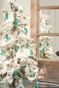 Silver/white and turquoise Christmas decor!