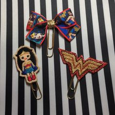 New! Wonder Woman Planner paper clip set! Wonder Woman part 2 has arrived to my etsy shop just in time for the Movie! Planner paper clip, bookmark, travelers notebook, TN clip, Foxyfix, Kikki k, Filofax, happy Planner, eclp,