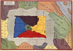 Map of the countries near to the Land of Oz, from Tik-Tok of Oz, first published in the United States in 1914.