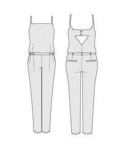 Buy the Copenhague Jumpsuit sewing pattern from Orageuse, a sophisticated fitted jumpsuit with a triangular cut out at the back. Sewing Blogs, Pdf Sewing Patterns, Clothing Patterns, Sewing Ideas, Sewing Clothes Women, Diy Clothes, Clothes For Women, Fitted Jumpsuit, Make Your Own Clothes