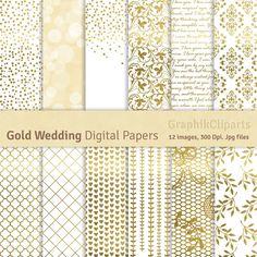 """Documentos digitales de boda oro. """"PAPELES DE LA BODA"""". Oro Digital documentos, fondos de boda. 12 imágenes, 300 Dpi. Archivos. jpg. Descarga inmediata."""