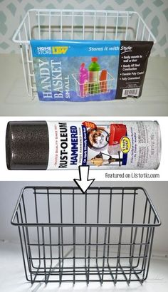 DIY industrial wire baskets using spray paint! - Home decor ideas for cheap! Lots of Awesome and Easy DIY spray paint ideas for projects, home decor, wall art and furniture! This makes refurbishing old things so much fun! Just visit thrift stores and Arts And Crafts Projects, Home Crafts, Diy Home Decor, Diy Projects, Diy Spray Paint, Spray Painting, Copper Spray Paint, Painting Plastic, Bricolage