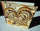 Sepia Stripes - Original Valentines's 3D Art Card Collage Brown Tan Vintage Upcycled