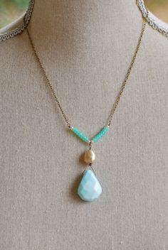 Liz. Peruvian opal,baroque pearl necklace. Tiedupmemories