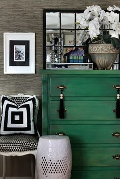 emerald green dresser + grasscloth wallpaper and black