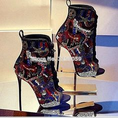 a1b5695ef0b98 US $87.22 11% OFF|Women Multi color Crystal Ankle Boots Open Toe Lace up  Exquisite Colorized Rhinestone Booties Extremely High Heels Wedding Shoes-in  Ankle ...