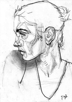 by Jakub Czyż on Behance Ink Pen Drawings, Art Drawings Sketches, Croquis Drawing, Animation 3d, Scribble Art, Figure Sketching, Portrait Sketches, Pen Art, Art Sketchbook