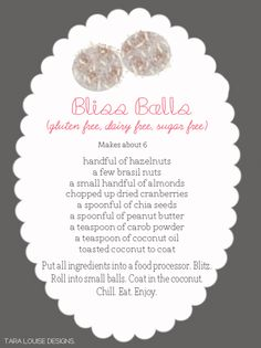 i need inspiring please.: YUM: Bliss Balls
