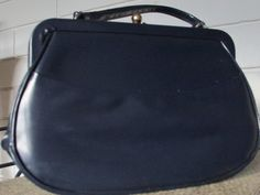 Classic Navy Leather-based Purse Purse