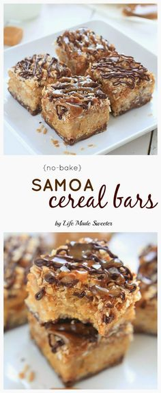 {No-Bake} Samoa Peanut Butter Cereal Bars - Easy Samoa Peanut Butter Cereal bars combine the beloved caramel, chocolate and coconut flavors of the popular girl scout cookies with peanut butter and a combination of rice and honey graham cereal. @LifeMadeSweeter