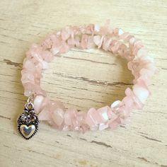 Pink Quartz Chip Memory Wire Bracelet Quartz by JewelryCharmers, $20.00