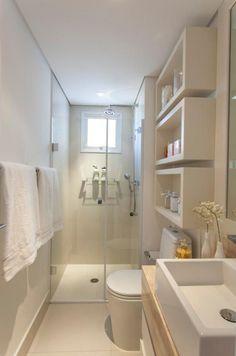 Small bathroom layout ideas from an architect to optimize space [bathroom design ideas, Small bathroom inspiration, home decor, small bathroom, modern design] Tiny Bathrooms, Laundry In Bathroom, Beautiful Bathrooms, Master Bathroom, Bathroom Small, Budget Bathroom, Bathroom Cabinets, Simple Bathroom, Bathroom Shelves