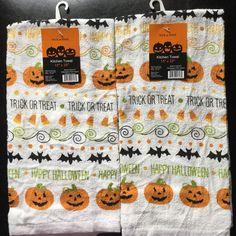 Set Of 2 Halloween Pumpkin Bat Trick Or Treat Holiday Kitchen Hand Dish Towels  | eBay
