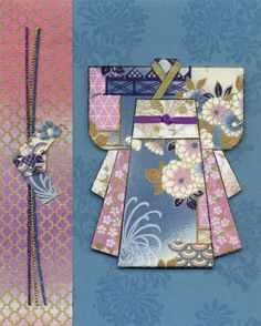 handmade kimono card from the Hanko Designs Archives ... created by Rosemary Lam ... paper pieced kimono using lovely washi papers in blues and pinks with gold accents ...