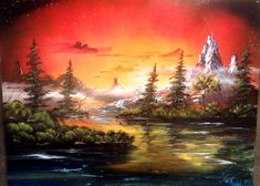 Mountain Sunset 26x19.5 inch Spray Painting by RS10SprayPaint, $150.00