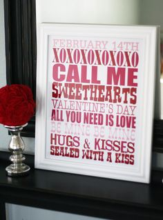 Free Printable Valentine's Day Subway Art from Eighteen25.com: