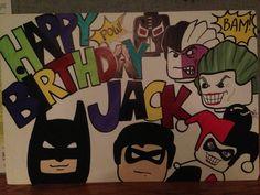 DIY birthday sign for sons batman lego party