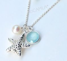 Silver Cape Seafoam Starfish Necklace by Camla on Etsy