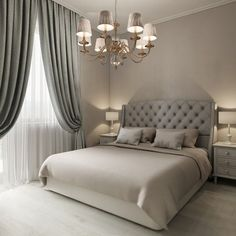 Vintage Bedroom 22 Luxury Traditional Bedroom Design Ideas For Your Classy Home - Bedrooms don't need a lot of additional space, merely a bed, a nightstand or two,… Master Bedroom Design, Home Decor Bedroom, Bedroom Curtains, Gray Curtains, Bedroom Furniture, Bedroom Bed, Master Suite, Bedroom Flooring, Bedroom Neutral