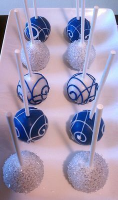 Blue and silver cake pops Blue Cake Pops, Blue Cakes, White Cake Pops, Elegant Cake Pops, Elegant Cakes, Doctor Who Wedding, Denim And Diamonds, Winter Wonderland Wedding, Autumn Wedding
