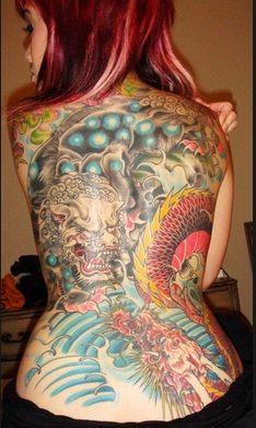 Full back asia dragon tattoo
