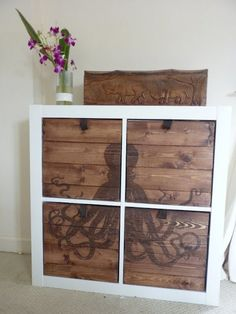 dresser by trn ikea expedit hack Ikea Furniture, Furniture Projects, Furniture Makeover, Home Projects, Painted Furniture, Antique Furniture, Deco Pirate, Ikea Expedit, Expedit Bookcase