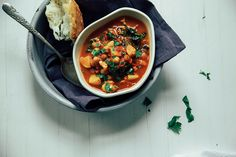 cauliflower, kale, chickpea curry in the crock pot