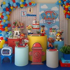 Image may contain: 1 person Paw Patrol Birthday Decorations, Paw Patrol Birthday Theme, 2 Birthday, Boy Birthday Parties, Cumple Paw Patrol, Mickey Mouse, Baby, Party Ideas, Google
