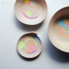 DIY Inspiration | Close up hand painted coil rope basket - Gemma Patford