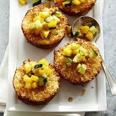 Crab-Shrimp Cakes with Mango-Cucumber Salsa From Better Homes and Gardens, ideas and improvement projects for your home and garden plus recipes and entertaining ideas.